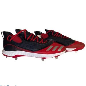 adidas Men's Black Silver Red Icon V Bounce Cleats